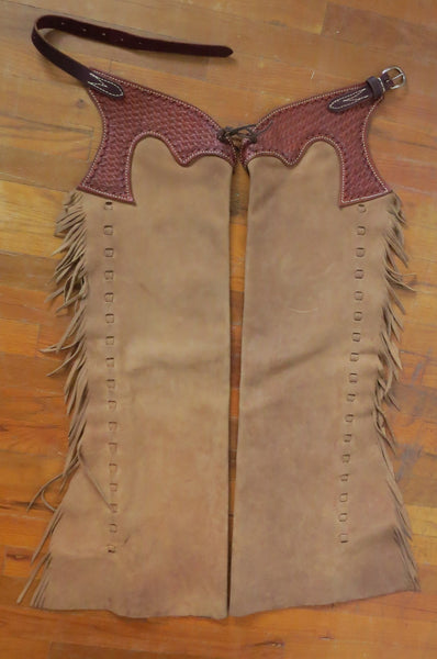 9991 Brown Rough Out Shot Gun Chaps with Basket Stamped Yokes