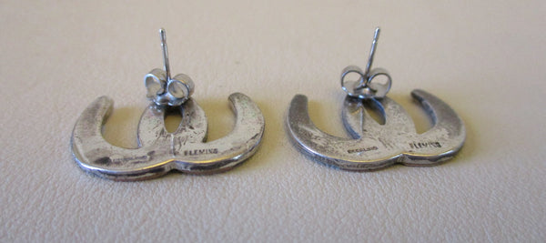 10632 FLEMING Sterling Silver Double Horseshoe Post Earrings