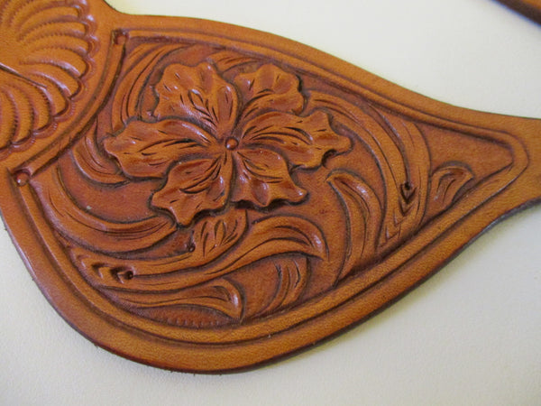 10659 New Handmade RACHEL SCRIBNER Tear Drop Floral Carved Spur Straps