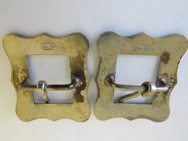 "10066 Pair of DIABLO Engraved ¾"" Spur Strap or Headstall Buckles"