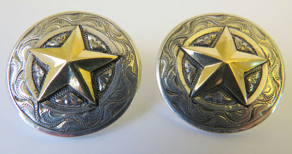 10104 New GIST SILVERSMITHS Sterling Silver 14K GF Star Earrings