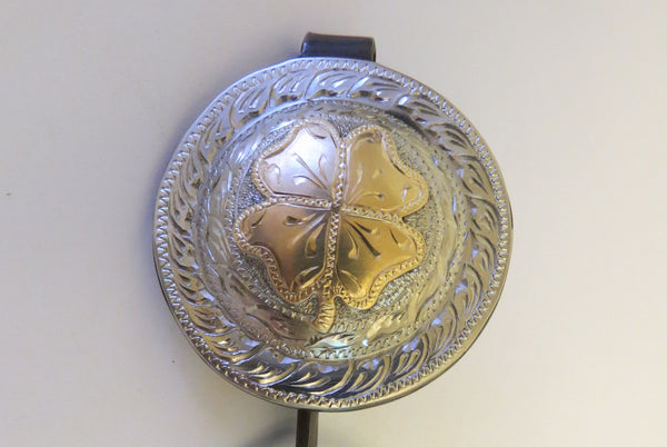10198 New Handmade DON ROGERS Concho Pocket or Purse Key Chain Fob 4 Leaf Clover