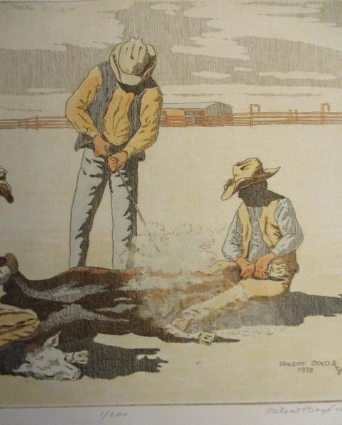 "10567 PHLEAT BOYD Limited Edition Etching Western Art ""Owners Mark"""