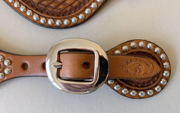 10700 New Handmade RACHEL SCRIBNER Tear Drop Diamond Stamped Spur Straps with Nickel Spots