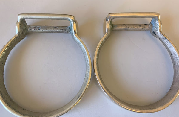 10686 Vintage Brass Oxbow Stirrups Mounted by David Hunt