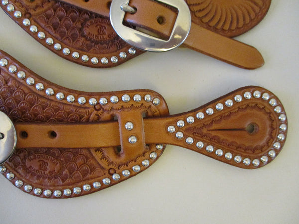10646 New Handmade RACHEL SCRIBNER Pass Through Spur Straps with Spots