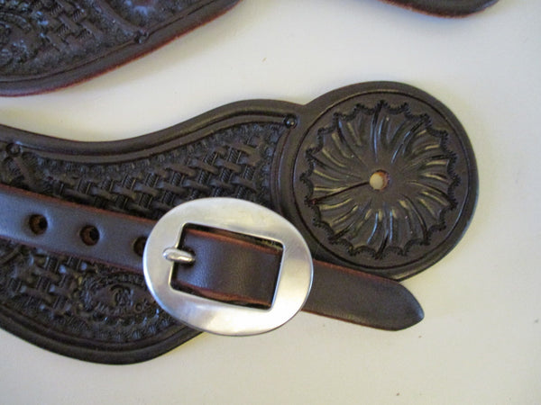 10663 New Handmade RACHEL SCRIBNER Pass Through Stamped Spur Straps