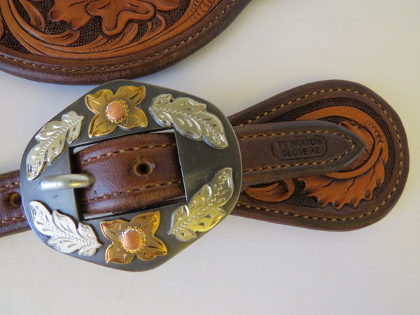 10095 New Handmade TY BARTON Tear Drop Style Floral Carved Spur Straps DON ROGERS Buckles