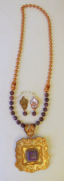 10139 New Handmade Copper and Silver Necklace with Matching Earrings