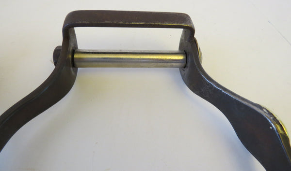 10083 Used Handmade JERRY LEWIS Mounted Steel Oxbow Stirrups