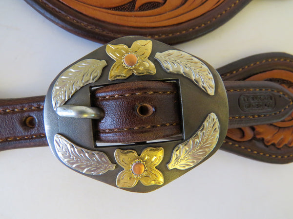 10096 New Handmade TY BARTON Tear Drop Style Floral Carved Spur Straps DON ROGERS Buckles