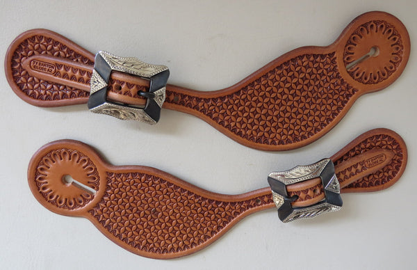 8444 New Handmade TY BARTON Spur Straps David Hunt Buckles