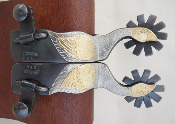8455 New Handmade DON ROGERS #1860 Double Mounted Goose Spurs