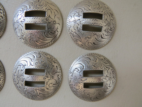 Set of Six Engraved Nickel Slotted Conchos