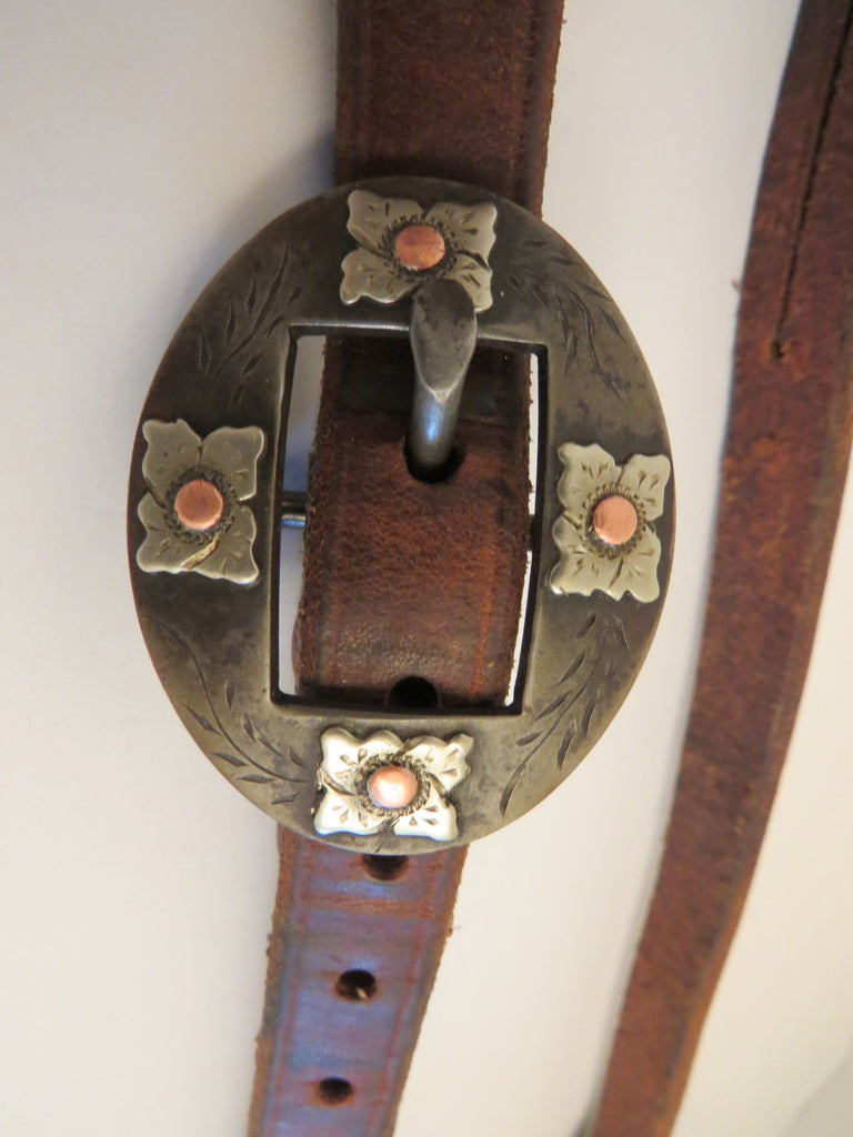 "10022 Used Handmade OLIVER SADDLE SHOP ¾"" Heavy Harness Split Ear Headstall DAVID HUNT Buckle"