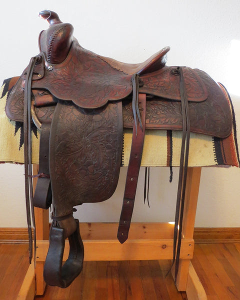 6893 Vtg Handmade KEYSTON BROTHERS Acorn Oak Leaf Carved Cowboy Saddle