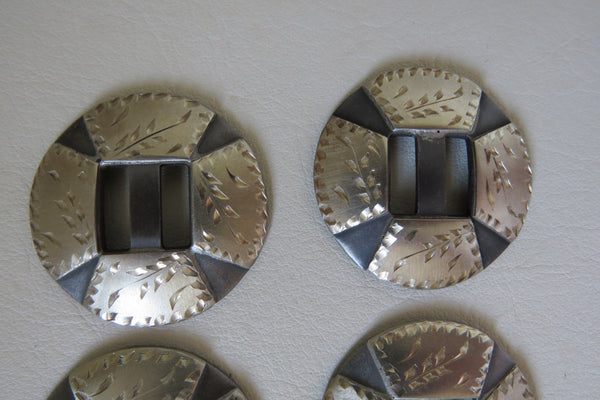 7800 New Handmade ROBERT EVANS Silver Mounted Slotted Conchos Set of Six 1 ½""
