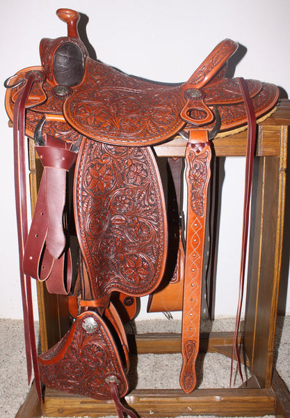 "1868 New  Handmade Terry Henson Floral Carved Will James Tree 15"" Saddle"