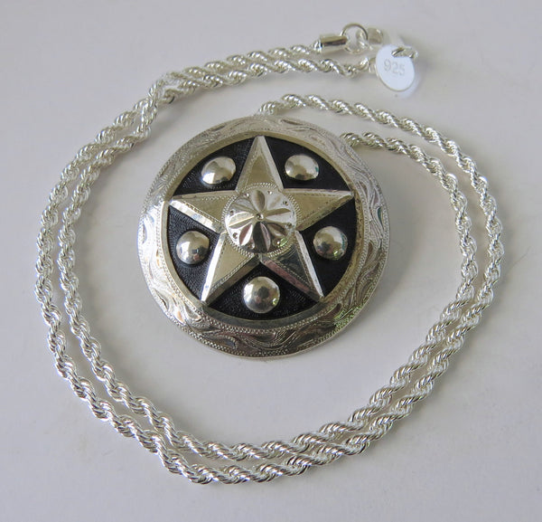 10111 New GIST SILVERSMITHS Sterling Silver Star Pendant Sterling Rope Chain Necklace