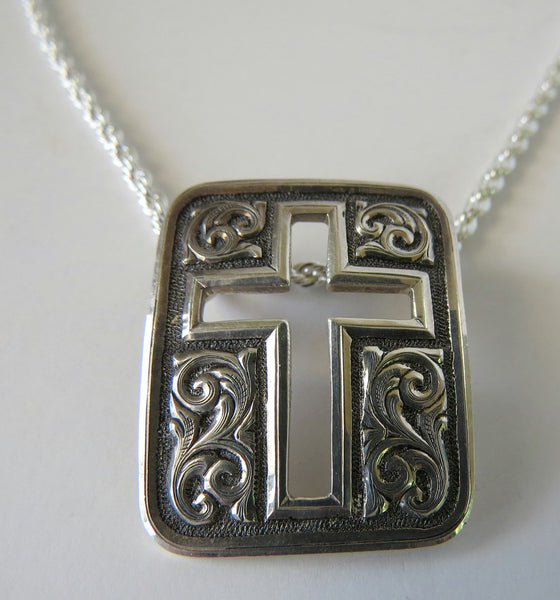 10169 GIST SILVERSMITHS Sterling Silver Cross Pendant Sterling Chain Necklace