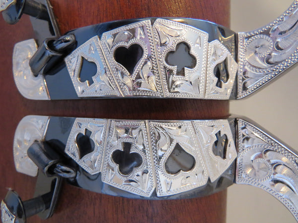New Handmade CARL SANCHEZ Sterling Mounted Card Suit Spurs