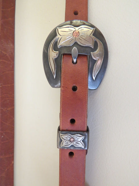 "9019 New Handmade GRUMPY OLD COWBOY Heavy Harness ¾"" Slot Ear Headstall ROBERT EVANS Flower Buckle"