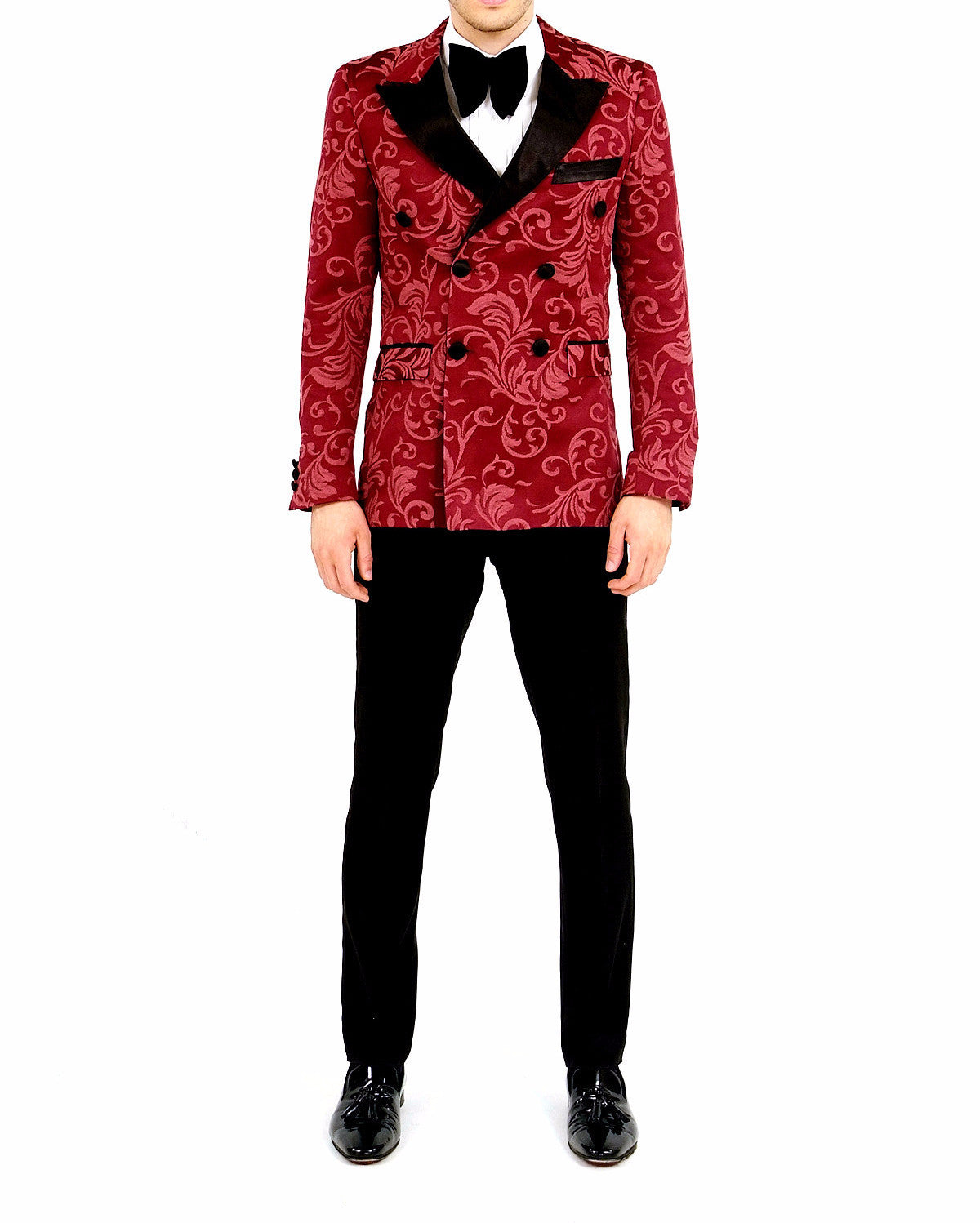 Majesty Red Printed Double Breasted Tuxedo Blazer