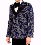 Majesty Blue Printed Double Breasted Tuxedo Blazer