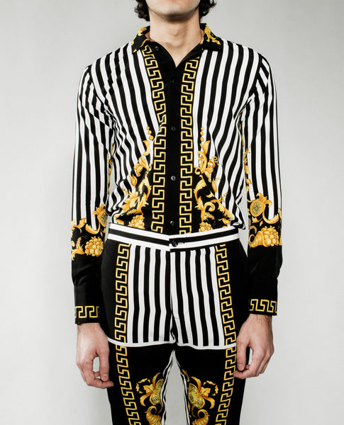 Baroque Print Slim Long Sleeve Shirt