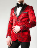 Icon Red & Black Floral Print Blazer