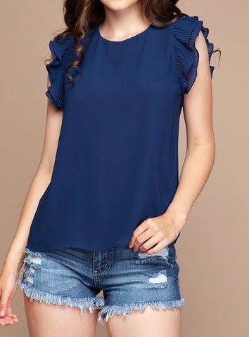 Pleated Sleeve Blouse Navy