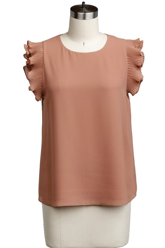 Pleated Sleeve Blouse Taupe