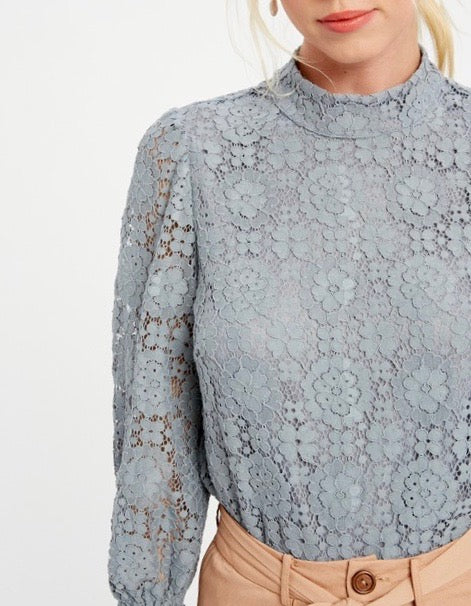 Lace Blouse Blue Gray