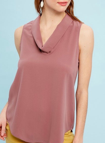 Cowl Neck Sleeveless Rouge