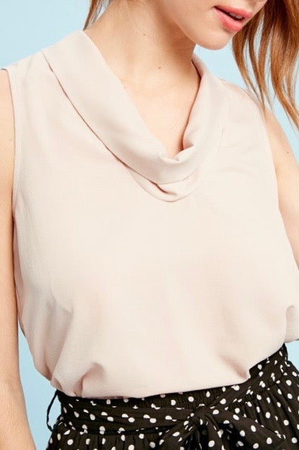 Cowl Neck Sleeveless Vanilla