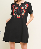 Embroidered Black/ Red Dress