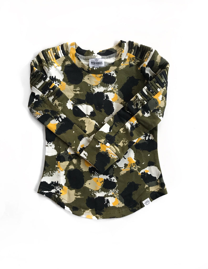 Long Sleeve Biker Shirt- Camo splatter Olive