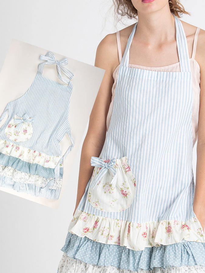 Blue Floral Mother and Daughter Apron Set
