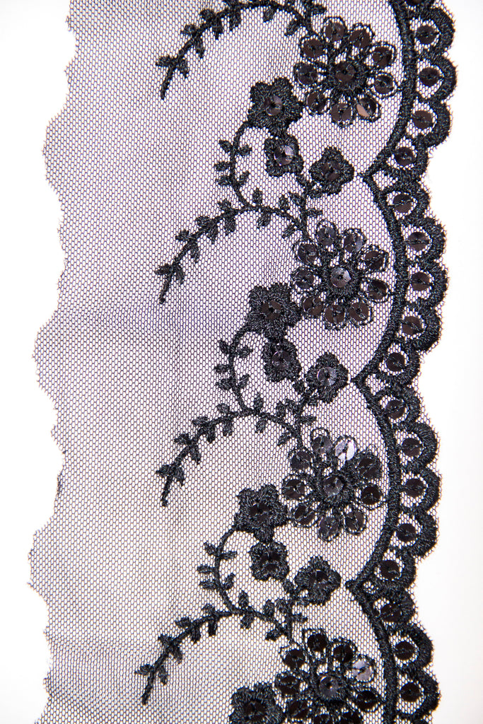 Black scalloped sequin lace