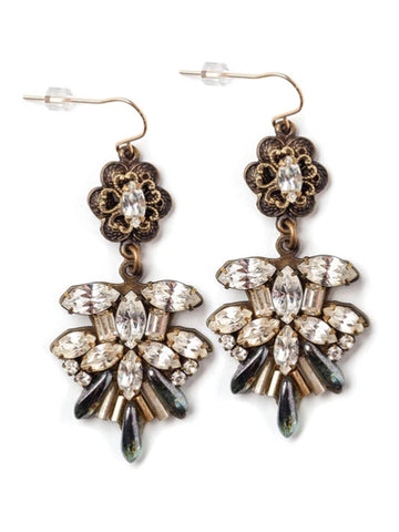 Ruffled Rhinestone Earrings