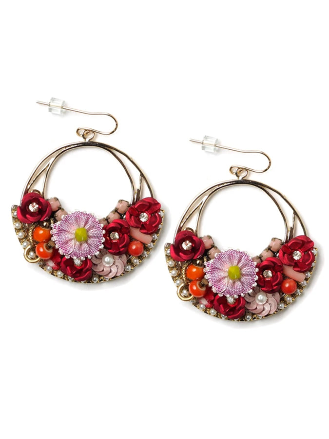 Vintage Floral Hoop Earrings