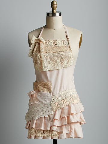 Linen and Lace Apron SHORT