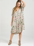 Abigail Floral Coatdress - Linen button up coat