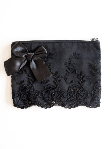 Black Satin & Lace Zip Bag Purse