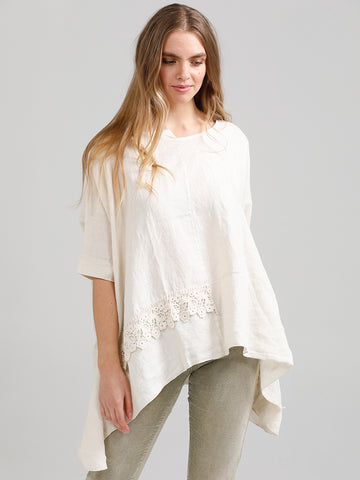 Linen and Lace Detail Top - 100% Pure Linen