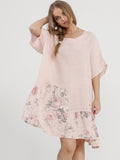 FLEUR DRESS - Linen Dress with Floral patches