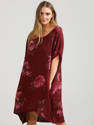 Linen Rosabella Top - Long Pure Linen Floral Top
