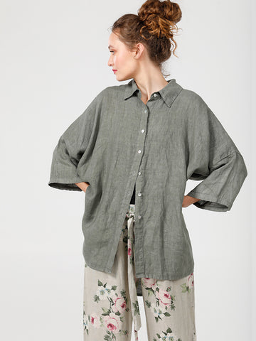 LINEN TEDDY SHIRT - Pure linen Loose Fit shirt