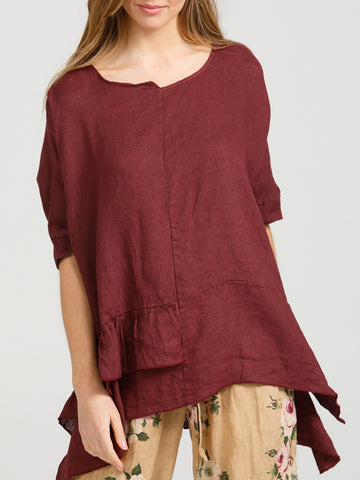 SORRENTO RUFFLE TOP - Pure Italian linen ruffle top