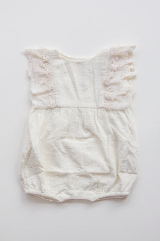 Linen and Lace Baby Romper - CREAM